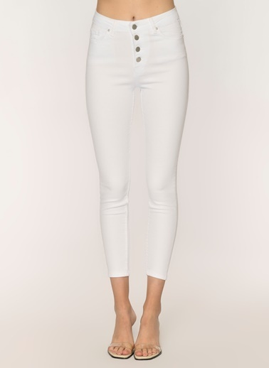 Loves You Düğmeli Yüksek Bel Jean Pantolon Beyaz